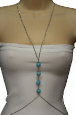 Women Silver Metal Body Chains Necklace Jewelry Harness Bikini Turquoise Blue