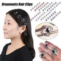 Girls Sweet Crystal Rhinestone Flower Mini Hair Claws Clips Pin Clamps 6 pcs