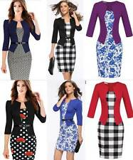 Lady Fake 2 Piece 3/4 Sleeve Formal Slim Bodycon Business Pencil Dress Belt Work