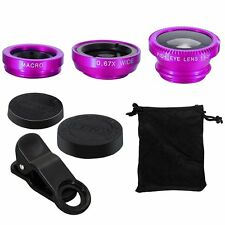3 in1 Clip Fish Eye+Macro+Wide Angle Lens Camera kit for iPhone SE 5C 5S 6S Plus