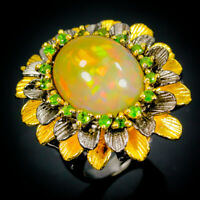 12ct Excellent Antique AAA  Natural Opal 925 Sterling Silver Ring Size 8/R70678