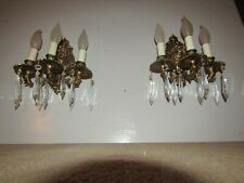 2 BRONZE 3 LIGHT SPANISH SCONCES -REWIRED IN EXCELLENT CONDITION ANTIQUE SCONCES