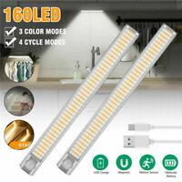 80-160LED Unterbauleuchte Akku Schranklicht Wiederaufladbare Bewegungsmelder USB