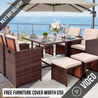 Rattan 8 Seater Garden Dining Furniture Cube Sofa Set Table Outdoor Patio Brown