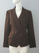 COLOUR EIGHTEEN Size 6 Dark Brown 100% Wool Fully Lined Long Sleeve Blazer