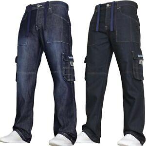 Mens Cargo Combat Jeans Casual Work Denim Pants Trousers Drawcord Von Denim NEW