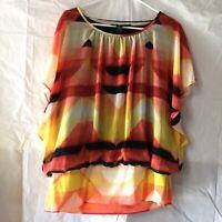 Style & Co. Women's Blouse Top Size XL Crewneck Orange Band Waist Short Sleeve