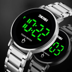 Mens Touch Screen Digital LED Date Stainless Steel Waterproof Quartz Sport Watch
