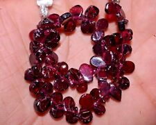 "K-0234 Garnet Natural Gemstone Pear Plain Loose Beads 7"" Strand $ Wholesale"