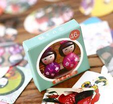 1 box 46 PCS Japanese kimono doll calendar diy paper Scrapbooking Diary sticker
