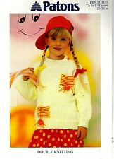 Patons DK KNITTING PATTERN, Girls Sweater with Pockets