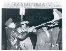 1957 Hungarian Refugee Demonstrators & Police Wrestle Washington DC Press Photo