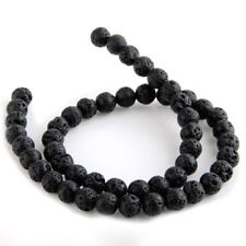 Strand Lava Stone beads loose beads ball 12 mm black V6Y7