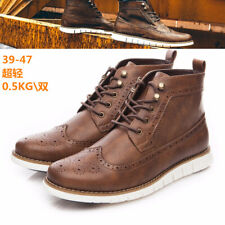 Men's High Top Ankle Flat Boots Leather Oxford Lace Up Casual Formal Dress Shoes