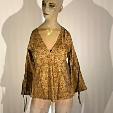 Little Birdy Studios- Handmade 100% Silk Slip On Summer Blouse / Shirt Top Sz S!