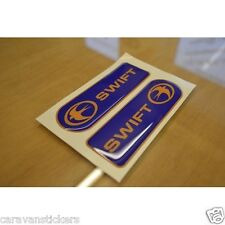 SWIFT - (RESIN DOMED)(BLUE & YELLOW) - Dent Badge Sticker Decal Graphic - PAIR