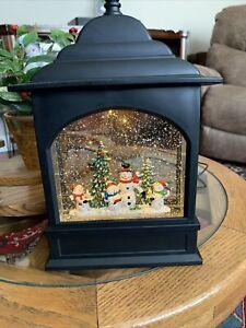 "Snowman Caroler Lighted Water Lantern Musical box 11"" Christmas Snow Globe Years"