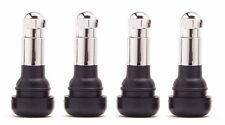 Chrome Standard Length Snap In Black Rubber Valve Stems Kit Set TR413C Set of 4