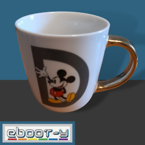 Disney Mickey Mouse D Alphabet Letter Gold Handle Mug