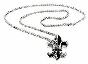 2teiliges Edelstahl Set Halskette und Anhänger 55cm Silber Schwarz Lilie