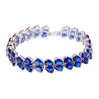 "Tanzanite Silver Fashion Women Jewelry Gemstone Chain Bracelet 7 5/8"" NS1484"