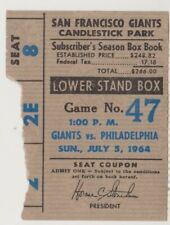 "PHILADELPHIA PHILLIES ""PHOLD"" TICKET STUB VS. SAN FRANCISCO GIANTS JULY 5, 1964"