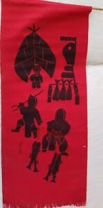 Holman Inuit Silk Screen Hanging by Ekootak- c. 1975 Women bringing fish to camp