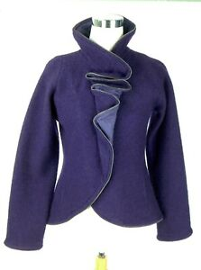 CoVeLo Anthropologie Purple Boiled Wool Jacket Zipper Trim Removable Bow Small