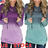 Women Hoodie Long Sleeve Sweatshirt Hooded Sweater Gradient Pullover Tops Jumper
