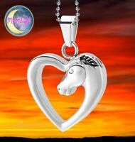 New Horse Heart Silver Love Urn Cremation Pendant Ash Memorial Necklace