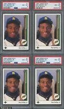 Lot (4) 1989 Upper Deck #1 Ken Griffey Jr. Mariners RC Rookie HOF All PSA 8