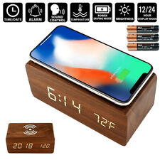 1x Modern Wooden Wood Digital LED Desk Alarm Clock Thermometer Wireless Charger