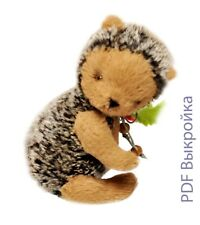 "Printed Sewing Pattern 7"" Hedgehog plus instruction for fully jointed hedge"