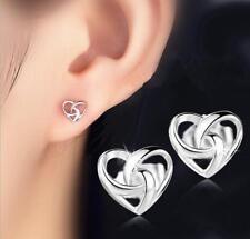 Earrings Silver Plated Earrings Jewelry 1 Pair Woman Fashion Anti-allergic Heart