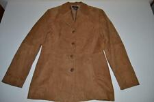 BROOKS BROTHERS 346 LEATHER BROWN TAN 4 BUTTON COAT BELT JACKET WOMENS SIZE 8