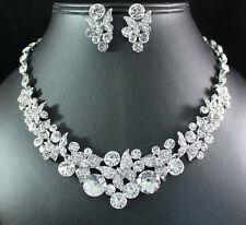 BUTTERFLIES CLEAR AUSTRIAN RHINESTONE CRYSTAL NECKLACE EARRING SET BRIDAL N1625
