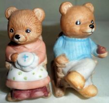 2 Collectible Porcelain Rocking Chair Bears Figurine Decorative Animal Figure