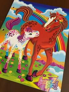 Rare Vintage Lisa Frank Horses Rainbow Chaser & Lollipop Double Pocket Folder