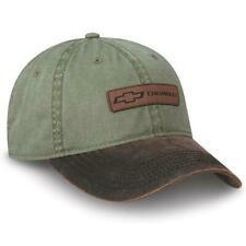 Chevy Truck Leather Patch Cap Dyed Olive Twill New Chevrolet Bowtie Hat