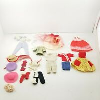 Vintage Doll Clothes Lot, Hats, Pants, Dresses, Shirts, Yellow, Red, Blue, Pink