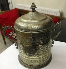Antique Indian Silver Plate Loving Cup Tankard Dragon Handles Hindu Gods Animals