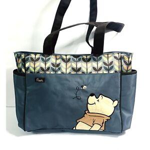Disney Winnie The Pooh Diaper Baby Bag Nylon Embroidered Blue Womens Purse