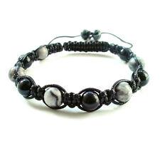 Men's shamballa beaded bracelet Onyx Jasper stone beads bangle wristband gems