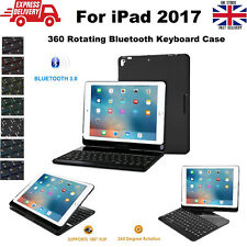 360° Rotating 7 Color Backlit Wireless Bluetooth Keyboard Case for iPad 2017 9.7