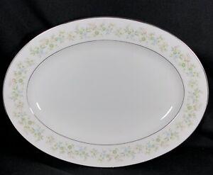 """Noritake Savannah Platinum 11 3/4"""" Serving Platter 2031 Floral Japan"""