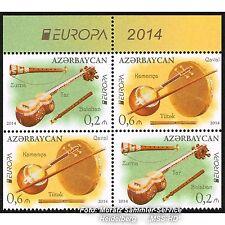 L'Azerbaïdjan Azerbaijan Europe CEPT 2014, instruments de musique, teilgezähnt ** Pf.
