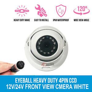4 PIN Heavy Duty Caravan Dome CCD 12 IR Colour Reversing Rear View Camera White