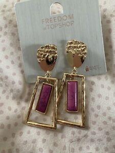 Freedom At Topshop Gold And Purple Square Earrings