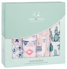 """Aden & Anais Classic Cotton Muslin 47"""" x 47"""" Baby Swaddles Trail Blooms 4 Pack"""
