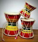 Handmade Indian Musical Instrument Multicolour Wooden Damru Set Of 3 For Kids